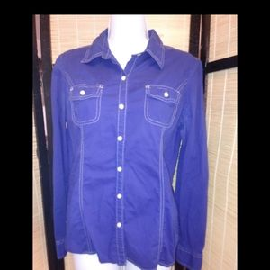 Tommy Hilfiger blue button up blouse